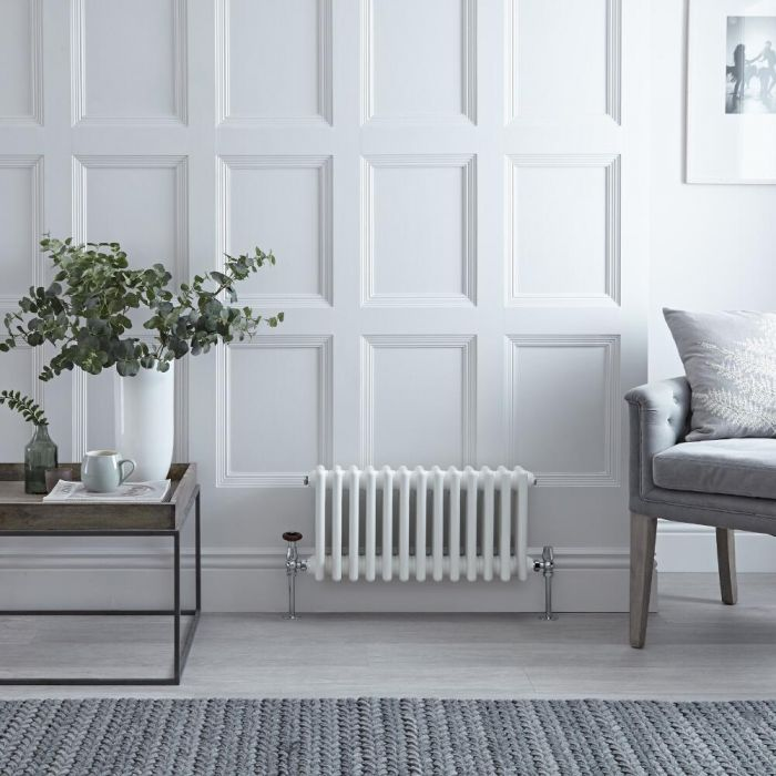 Milano Windsor - White Traditional Horizontal Column Radiator - 300mm x 608mm (Double Column)