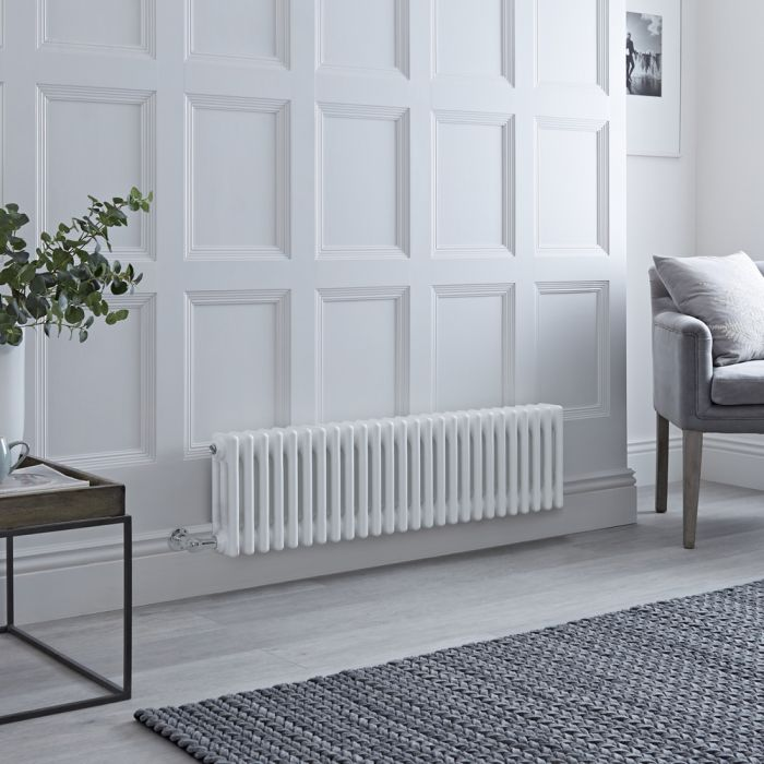 Milano Windsor - Traditional 3 Column Electric Radiator - Cast Iron Style - White - 300mm x 1193mm