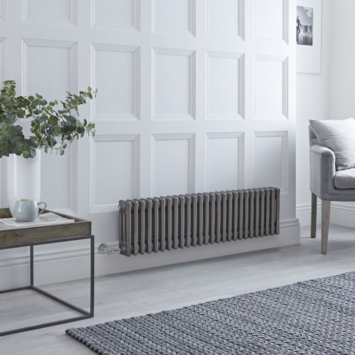 Milano Windsor – Traditional Horizontal 3 Column Electric Radiator - Raw Metal Lacquered - 300mm x 1193mm