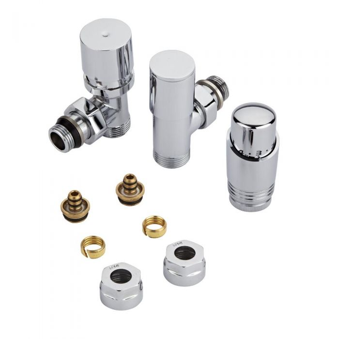 "Milano - Chrome 3/4"" Male Thread Valve With Chrome TRV With 14mm Multi Adaptors"