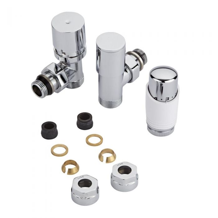 "Milano - Chrome 3/4"" Male Thread Valve With White TRV - 14mm Copper Adapters"