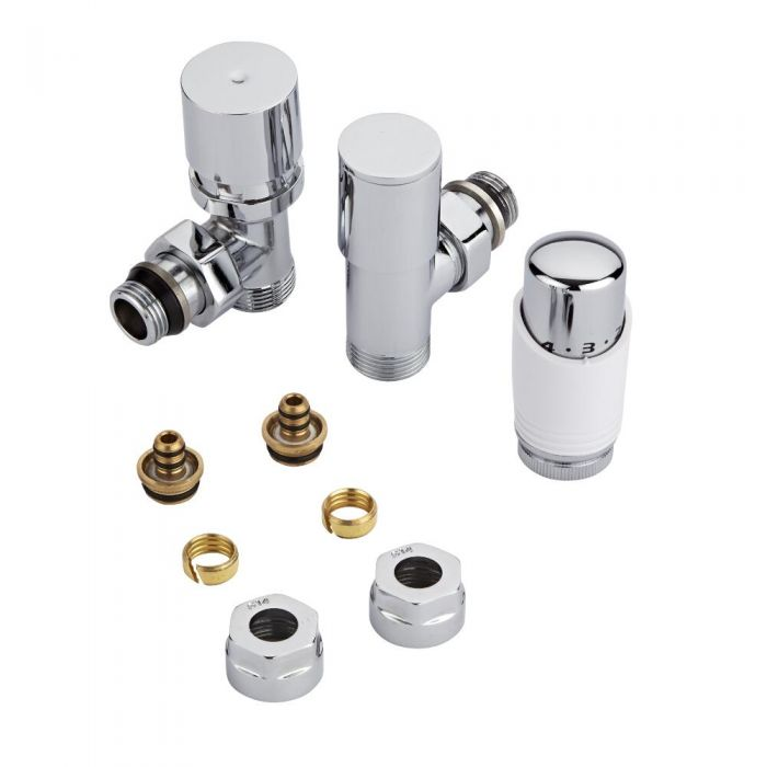 "Milano - Chrome 3/4"" Male Thread Valve With White TRV With 14mm Multi Adaptors"