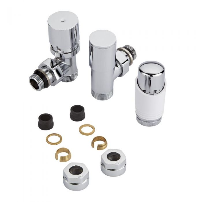 "Milano - Chrome 3/4"" Male Thread Valve With White TRV - 15mm Copper Adapters"