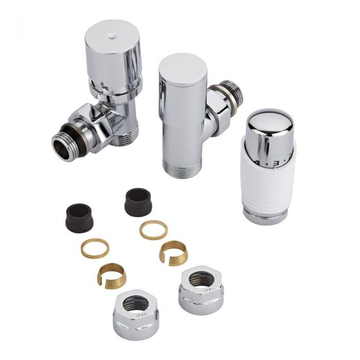 Milano Chrome 3/4'' Male Thread Valve with White TRV & 16mm Copper Adaptors