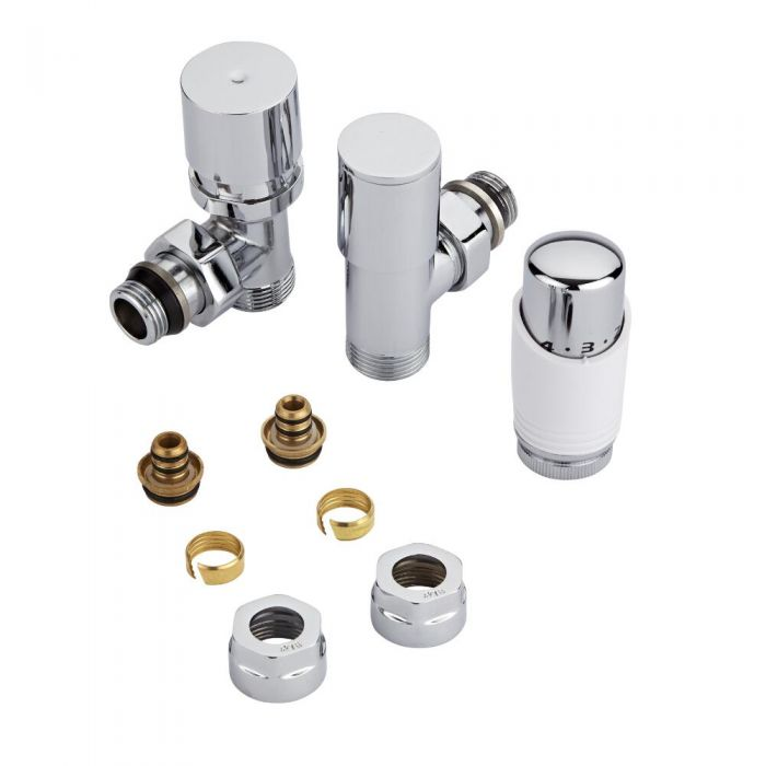 "Milano - Chrome 3/4"" Male Thread Valve With White TRV - 16mm Multi Adapters"