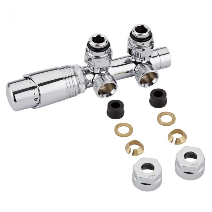 """Milano - Chrome 3/4"""" Male H-Block Angled Valve With Chrome TRV Head - 12mm Copper Adapters"""
