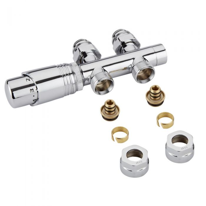 Milano Chrome 3/4'' Male H Block Straight Valve with Chrome TRV & 16mm Multi Adaptors