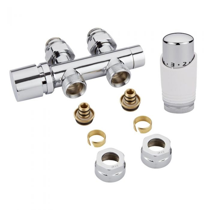 "Milano - Chrome 3/4"" Male H-Block Straight Valve With White TRV With 16mm Multi Adaptors"