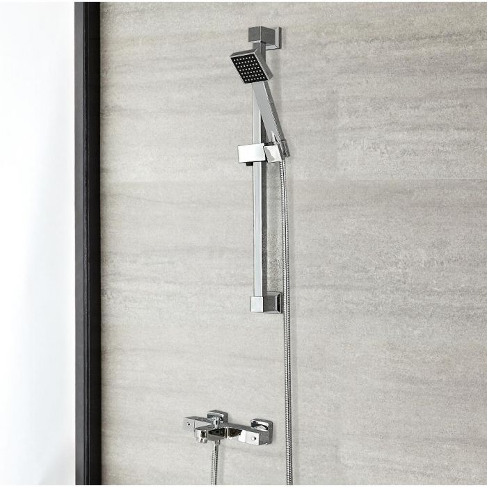Milano Arvo - Modern Thermostatic Bath Shower Mixer Tap with Anti Scald - Chrome