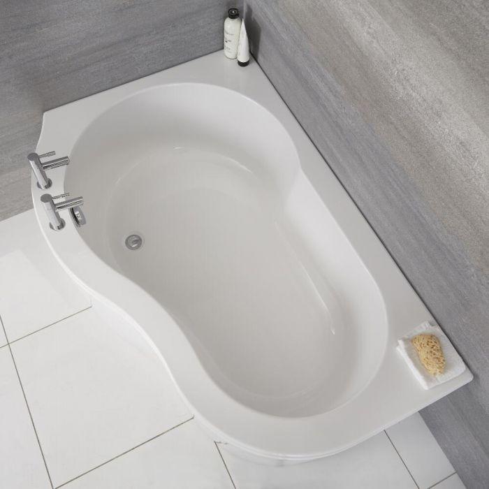 Milano Irwell - White Modern Left Hand Corner Bath with Panel - 1500mm x 1000mm