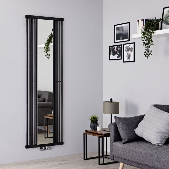 Terma Intra - Black Vertical Designer Radiator With Mirror - 1700mm x 640mm