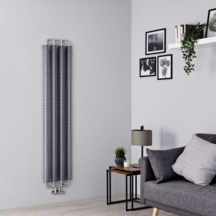 Terma Ribbon - Silver Vertical Designer Radiator - 1720mm x 390mm