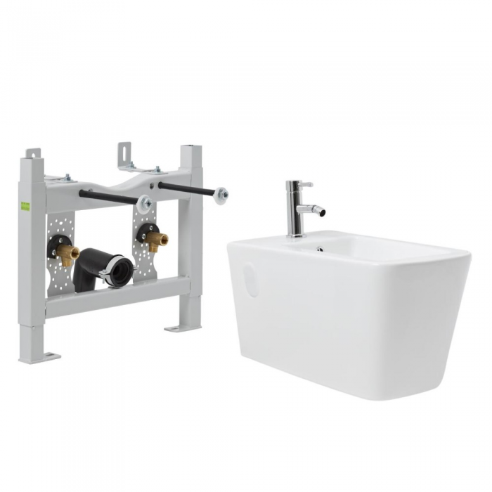 Milano Elswick - White Modern Wall Hung Bidet with Frame and Tap - 505mm x 420mm (1 Tap-Hole)