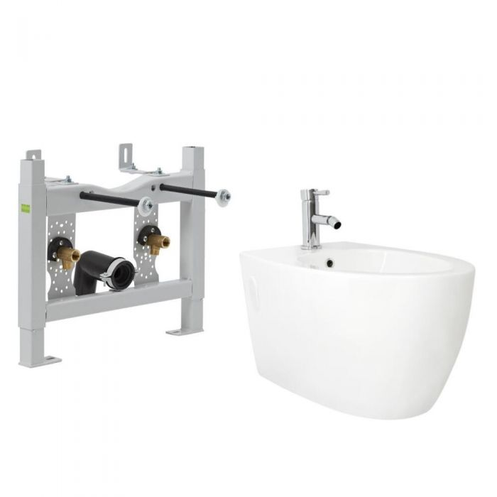 Milano Irwell - White Modern Wall Hung Bidet with Frame and Tap