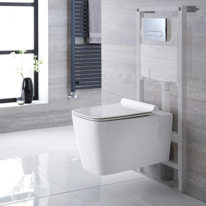 Milano Elswick - White Modern Wall Hung Toilet with Tall Wall Frame and Choice of Flush Plate - 360mm x 345mm