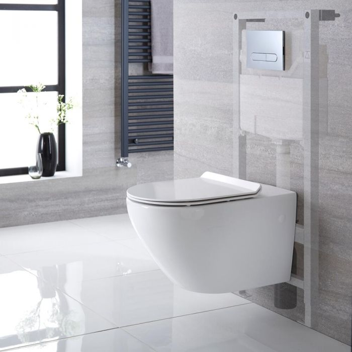 Milano Overton - White Modern Wall Hung Toilet with Tall Wall Frame and Choice of Flush Plate - 340mm x 360mm