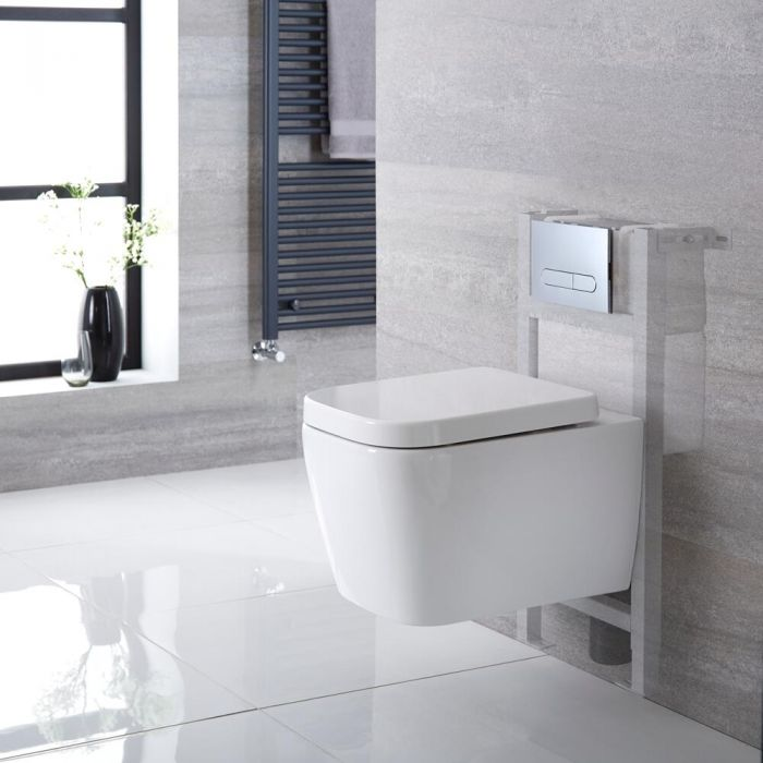 Milano Longton - White Modern Wall Hung Toilet with Short Wall Frame and Choice of Flush Plate - 345mm x 350mm