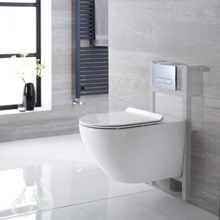 Milano Overton - White Modern Wall Hung Toilet with Short Wall Frame - Choice of Flush Plate