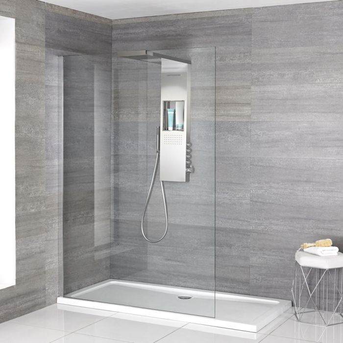 Milano Vaso - Complete Walk-In Shower Enclosure with Slimline Tray and Shower Tower