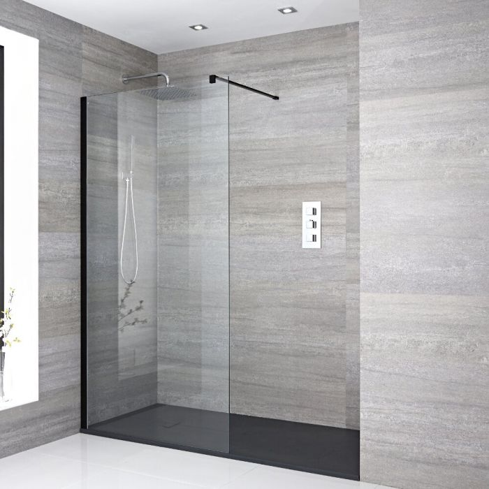 Milano Portland - Recessed Walk-In Shower Enclosure with Slate Tray - Multiple Sizes