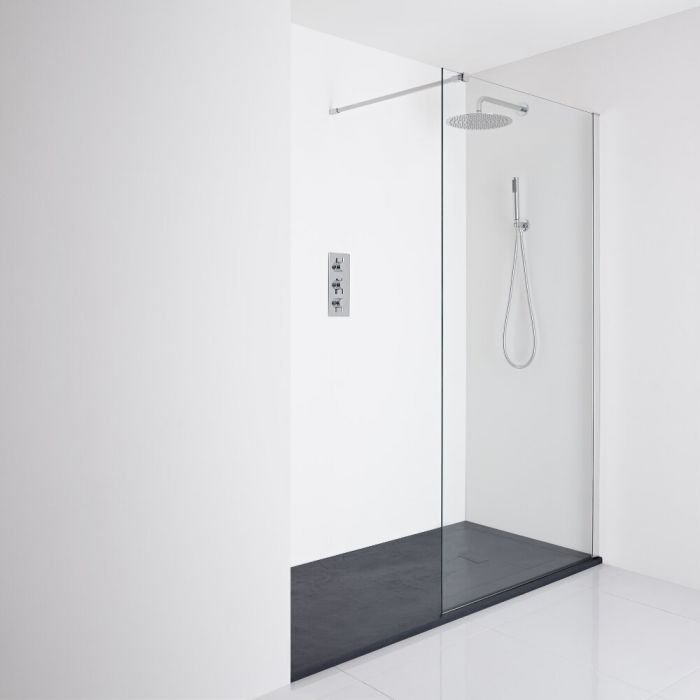 Milano Portland Recessed Walk-In Shower Enclosure (1700 x 800mm) - Inc. Slate Tray