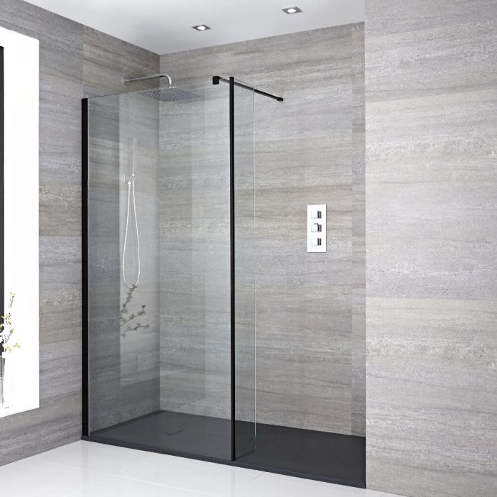 Milano Nero Recessed Walk-In Shower Enclosure (1400 x 900mm) - Inc. Slate Tray & Return Panel
