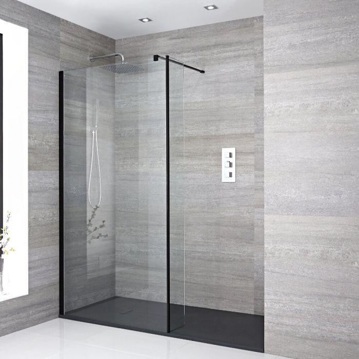 Milano Nero Recessed Walk-In Shower Enclosure (1700 x 900mm) - Inc. Slate Tray & Return Panel