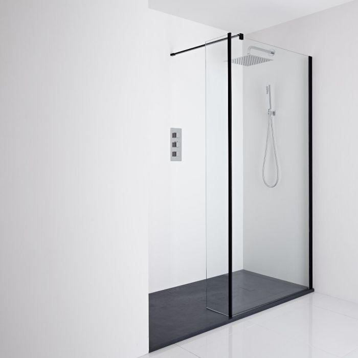 Milano Nero Recessed Walk-In Shower Enclosure (1400 x 800mm) - Inc. Slate Tray & Return Panel