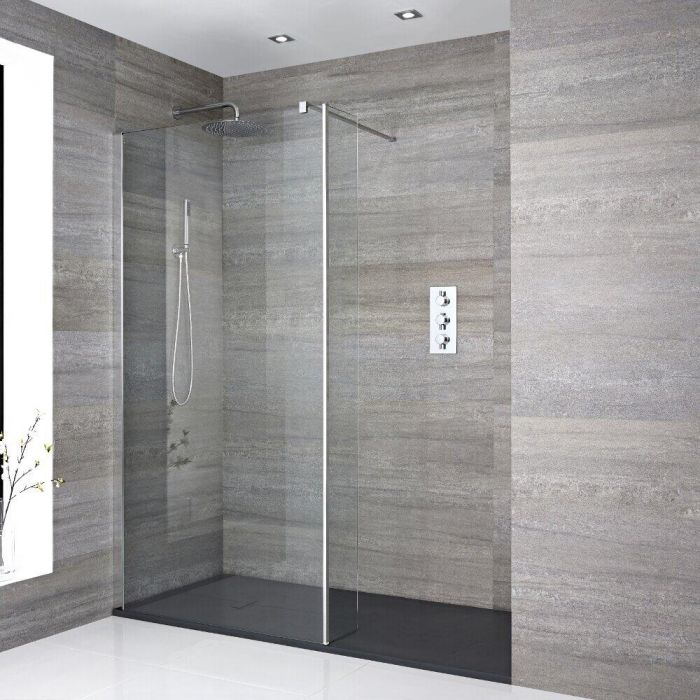 Milano Portland - Recessed Walk-In Shower Enclosure with Slate Tray and Return Panel - Choice of Sizes