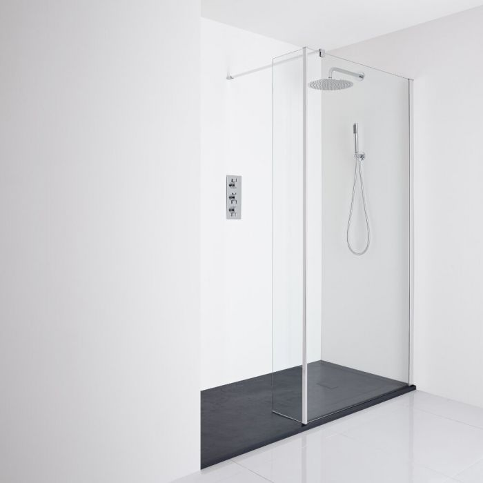 Milano Portland Recessed Walk-In Shower Enclosure (1400 x 800mm) - Inc. Slate Tray & Return Panel