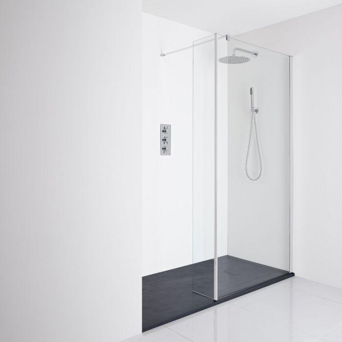 Milano Portland Recessed Walk-In Shower Enclosure (1700 x 800mm) - Inc. Slate Tray & Return Panel