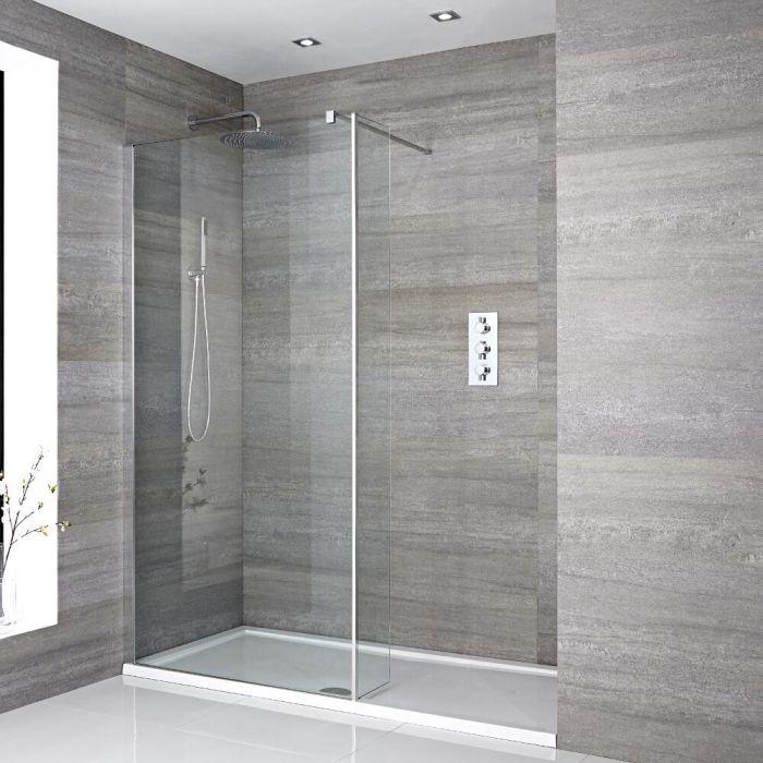 Milano Portland - Recessed Walk-In Shower Enclosure (1100 x 760mm) - Inc. Tray & Return Panel