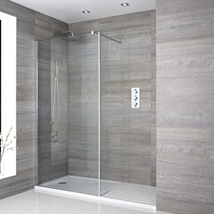 Milano Portland - Recessed Walk-In Shower Enclosure (1600 x 800mm) - Inc. Walk-In Tray & Return Panel