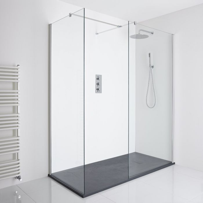Milano Portland Corner Walk-In Shower Enclosure (1400 x 800mm) - Inc. Slate Tray