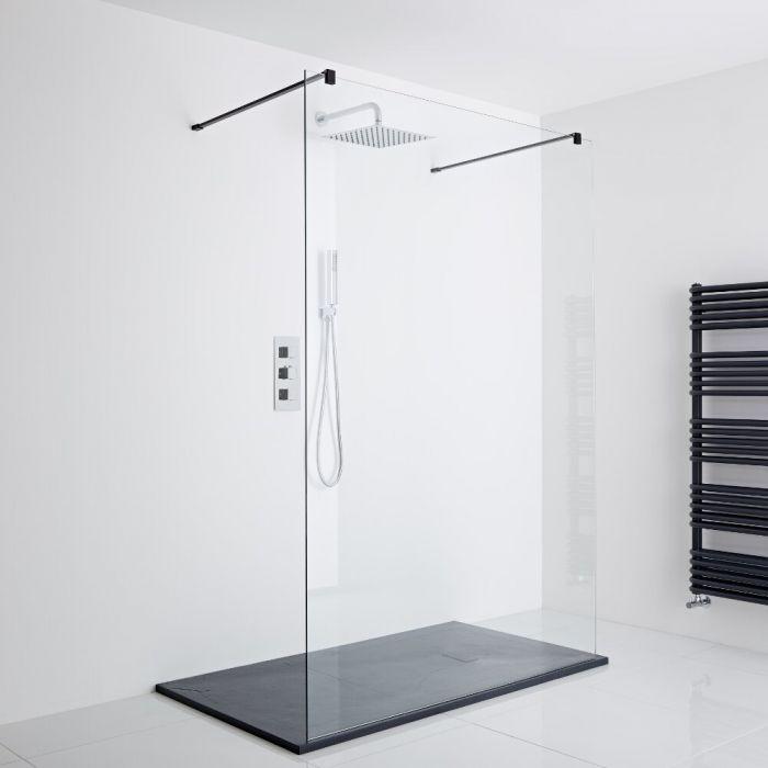 Milano Nero - Floating Walk-In Shower Enclosure (1200 x 900mm) - Inc. Slate Tray