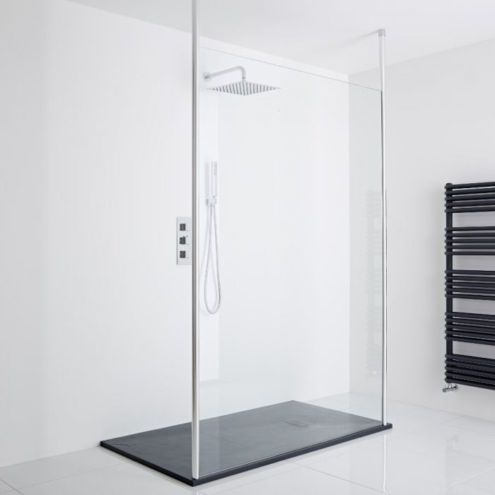 Milano Alto - Floating Wet-Room Shower Enclosure (1400 x 800) - Inc. Slate Tray