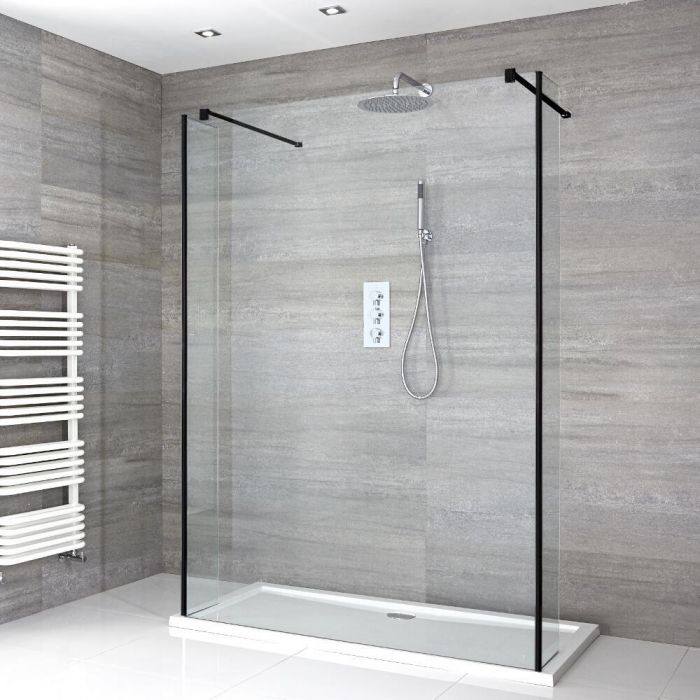 Milano Nero - Floating Walk-In Shower Enclosure with Tray and Return Panels - Choice of Sizes