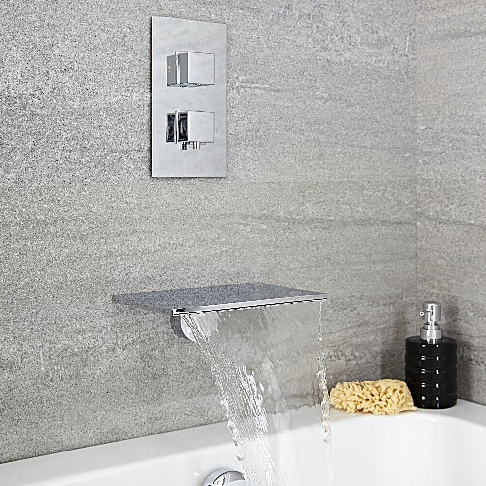 Milano Blade Modern Wall Mounted Waterfall Bath Filler And Square Concealed Thermostatic Valve