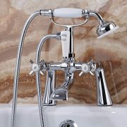Milano Select - Traditional Crosshead Deck Mounted Bath Shower Mixer Tap - Chrome and White