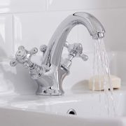 Hudson Reed Elizabeth - Traditional Crosshead Deck Mounted Mono Basin Mixer Tap - Chrome and White