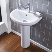 Milano Newby - 550mm Basin with Full Pedestal - 1 Tap-Hole