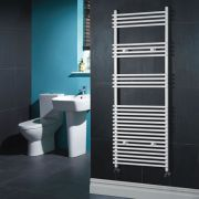 Kudox - White Flat Bar on Bar Heated Towel Rail - 1650mm x 600mm