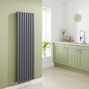 Milano Aruba - Luxury Anthracite Vertical Designer Double Radiator 1600mm x 472mm