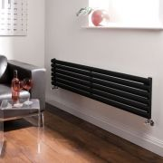 Milano Aruba - Luxury High Gloss Black Horizontal Designer Radiator 354mm x 1600mm