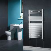 Kudox - White Flat Bar on Bar Heated Towel Rail - 1150mm x 600mm