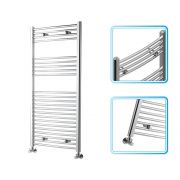 Kudox - Premium Chrome Curved Heated Bathroom Towel Radiator Rail 1200mm x 600mm