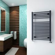 Milano Brook - Anthracite Flat Heated Towel Rail - 800mm x 600mm