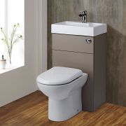 Milano Lurus - Concrete Grey Modern Linton Toilet and Basin Unit Combination - 500mm x 890mm