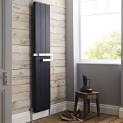 Hudson Reed Ceylon - Black Super-Flat Vertical Designer Radiator with Towel Rail 1800mm x 370mm
