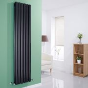 Milano Viti - Gloss Black Vertical Diamond Double Panel Designer Radiator 1780mm x 420mm